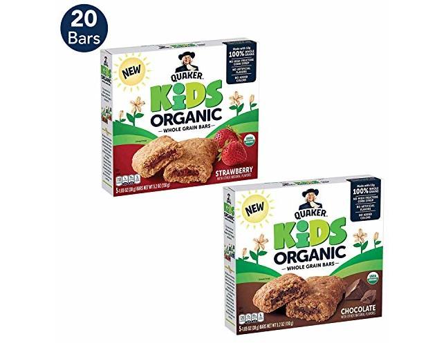 Quaker Kids Organic Multigrain Bars, Variety Pack, 20 Bars, USDA Certified Organic
