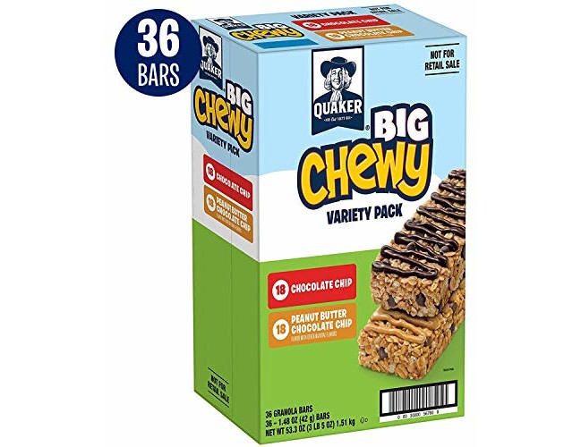 Quaker Big Chewy Granola Bars, 60% Larger, Variety Pack, 36 Bars