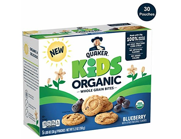 Quaker Kids Organic Multigrain Bites, Blueberry, 30 Pouches, USDA Certified Organic