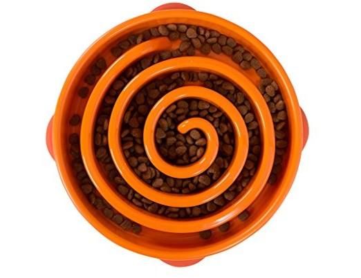 Outward Hound Fun Feeder Dog Bowl Slow Feeder Stop Bloat for Dogs, Large, Orange