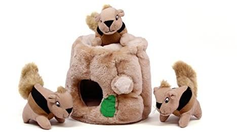 Outward Hound Hide a Squirrel Fun Hide & Seek Interactive Puzzle Plush Dog Toy, 4 Piece, Medium