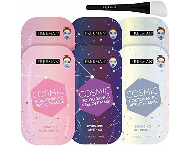 Freeman Cosmic Mask Variety Sachets (Pack of 6) + Bonus Brush Holographic Peel-Off Mask Hydrating