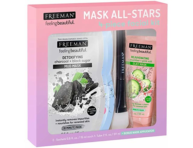 FREEMAN All-Star Face Mask Kit (Limited Edition) - Detoxifying Mud, Hydrating Gel Cream, Rejuvenating Clay
