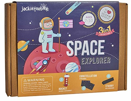 jackinthebox Space Themed Craft Kit and Educational Toy for Boys and Girls | 3 Activities-in-1 Kit | Great Gift for Kids Aged 7-10 Years Old | Learning Stem Toys