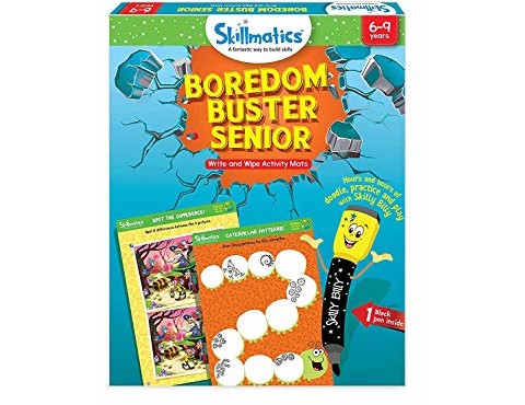 Skillmatics Educational Game: Boredom Buster Senior (6-9 Years) | Creative Fun Activities and Games for Kids | Erasable and Reusable Mats