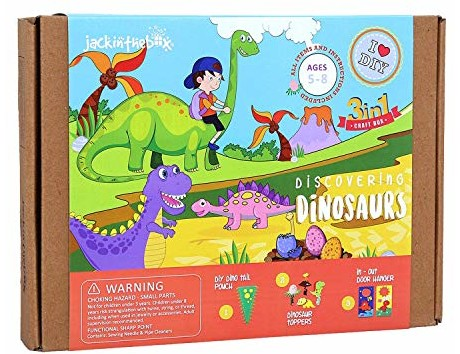 jackinthebox Dinosaur Themed Craft Kit and Educational Toy for Boys and Girls | 3 Activities-in-1 Kit | Great Gift for Kids Aged 5 to 8 Years Old | Learning Stem Toys (Dinosaur 3-in-1)