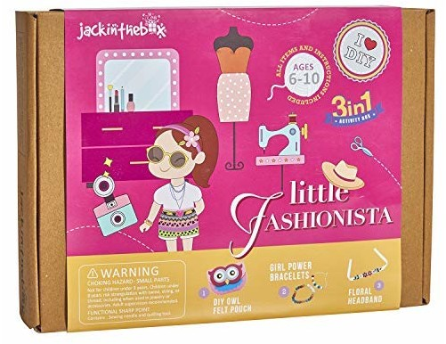 Fashion Themed Art and Craft Kit for Girls | 3 Activities-in-1 | Best Girl Gift for Ages 4 to 8 Years | Includes Beautiful Felt and Foam Embellishments (Little Fashionista 3-in-1)
