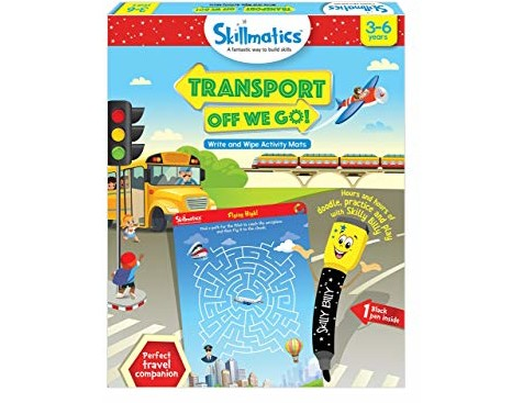 Skillmatics Educational Game: Transport Off We Go (3-6 Years) | Creative Fun Activities and Games for Kids | Erasable and Reusable Mats