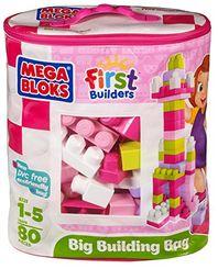 Mega Bloks First Builders Big Building Bag, 80-Piece (Pink) JungleDealsBlog.com