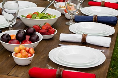 Service for 4 includes 4 each 10-1/4\u2033 Dinner Plates 6-3/4\u2033 Bread and Butter Plates 18-Ounce Soup/Cereal Bowls 11-Ounce Stoneware Mugs Storage Lids ... & HOT* Corelle 20 Piece Livingware Dinnerware Set with Storage ...