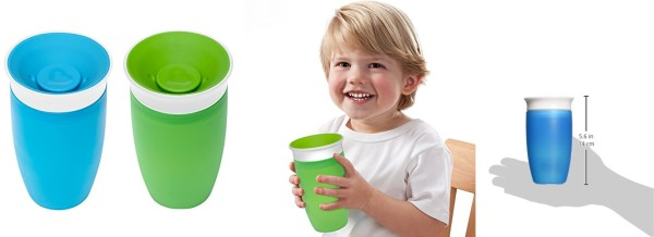 New Free Shippi Green//Blue 10 Ounce Munchkin Miracle 360 Sippy Cup 2 Count