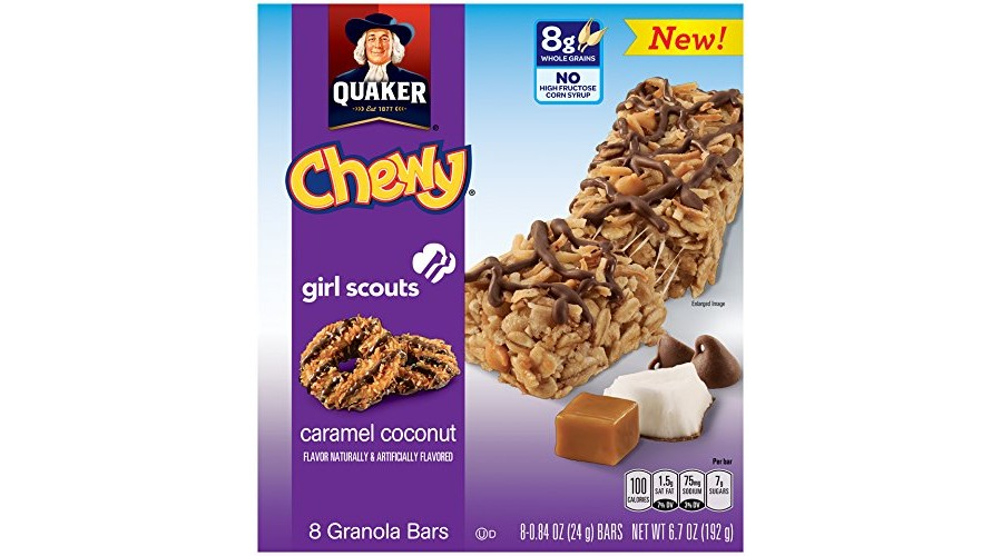 expired quaker girl scouts caramel coconut chewy granola
