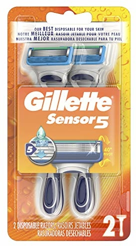 Gillette Sensor5 Men's Disposable Razors, 2 Count, Mens Razors/Blades