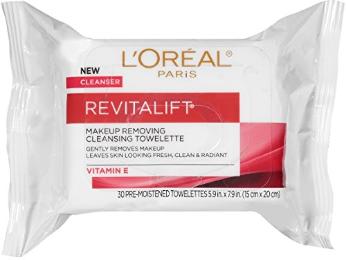 L'Oreal Paris Revitalift Makeup Removing Wipes with Vitamin E, Face Cleansing Towelettes, 30 Count