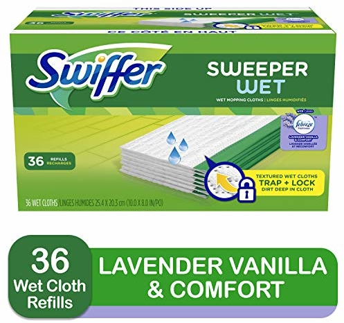 Swiffer Sweeper Wet Mop Refills for Floor Mopping and Cleaning, All Purpose Floor Cleaning Product, Lavender Vanilla and Comfort Scent, 36 Count