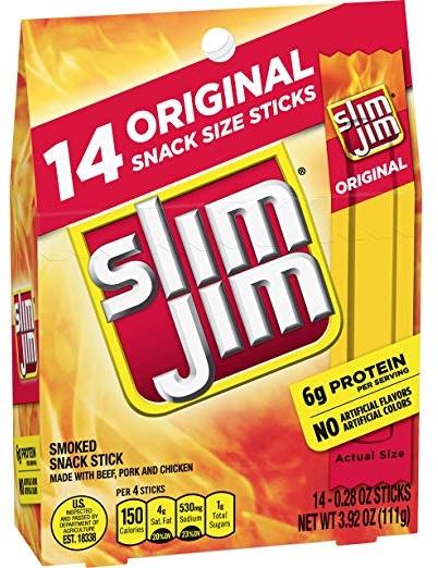 Slim Jim Snack-Sized Smoked Meat Stick, Original Flavor, 14 Count