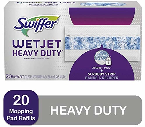 Swiffer Wetjet Heavy Duty Mop Pad Refills for Floor Mopping and Cleaning, All Purpose Multi Surface Floor Cleaning Product, 20 Count (Packaging May Va