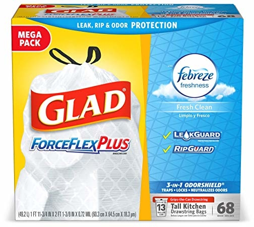 Glad ForceFlexPlus Tall Kitchen Drawstring Trash Bags -13 Gallon White Trash Bag, with Febreze Fresh Clean - 68 Count (Packaging May Vary)