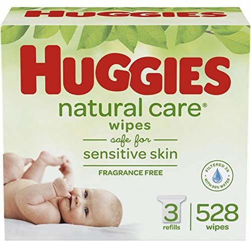 HUGGIES Natural Care Unscented Baby Wipes, Sensitive, 3 Refill Packs (528 Total Wipes)