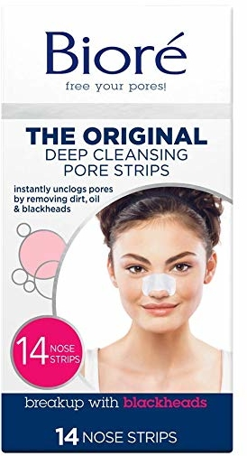 Bioré Most Trusted Blackhead Removing and Pore Unclogging Deep Cleansing Pore Strip Cruelty Free, Vegan, Oil-Free & Non-Comedogenic (14 Count) (Packaging May Vary)