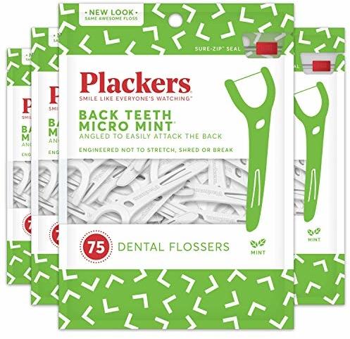Plackers Back Teeth Micro Mint Dental Floss Picks, 75 Count (Pack of 4)