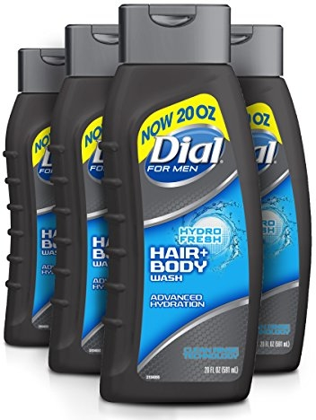 Dial For Men Hair + Body Wash, Hydro Fresh, 20 Ounce (Pack of 4)