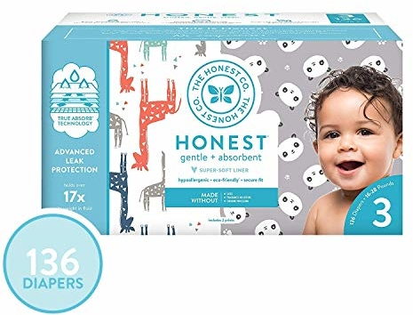 The Honest Company Super Club Box Diapers - Size 3 - Pandas & Safari Print   TrueAbsorb Technology   Plant-Derived Materials   Hypoallergenic   136 Count