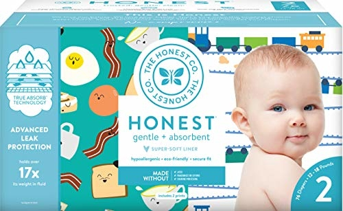 The Honest Company Club Box - Size 2 - Trains & Breakfast Print with TrueAbsorb Technology   Plant-Derived Materials   Hypoallergenic   76 Count