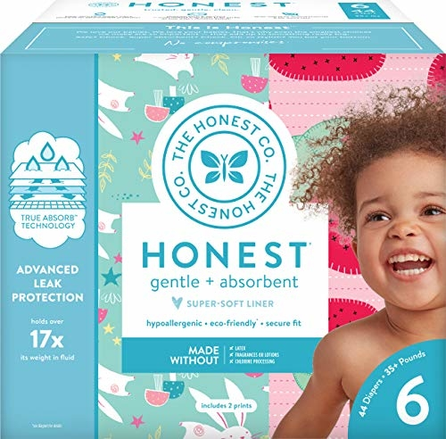 The Honest Company Club Box - Size 6 - Strawberries & Bunnies Print with TrueAbsorb Technology | Plant-Derived Materials | Hypoallergenic | 44 Count|