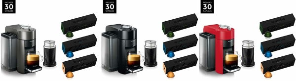 Amazon Cyber Monday: Save on Nespresso Coffee Machine by De'Longhi Bundle with Milk Frother and 30 Vertuoline Capsules