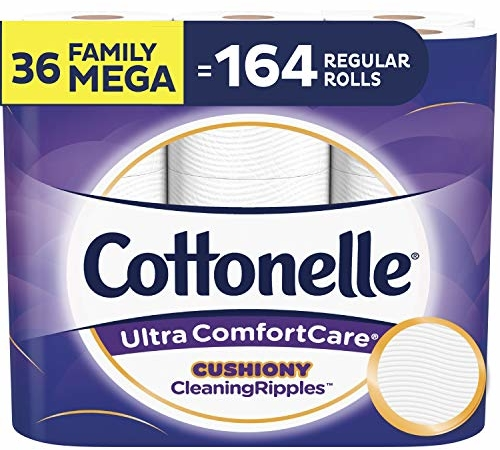 Cottonelle Ultra ComfortCare Toilet Paper with Cushiony CleaningRipples, Soft Biodegradable Bath Tissue, Septic-Safe, 36 Family Mega Rolls