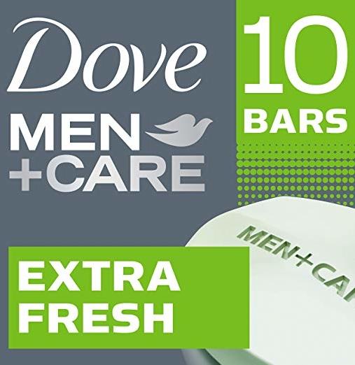Dove Men+Care Body and Face Bar Extra Fresh 4 oz, 10 Bar