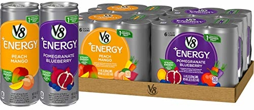 V8 +Energy Variety Pack, Healthy Energy Drink, Pomegranate Blueberry and Peach Mango, 8 Oz Can (4 Packs of 6, Total of 24)