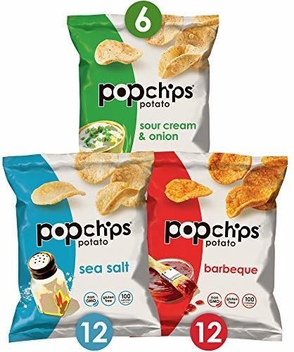 Popchips Potato Chips Variety Pack Single Serve 0.8 oz Bags (Pack of 30), 3 flavors: 12 Sea Salt, 12 BBQ, 6 Sour Cream & Onion
