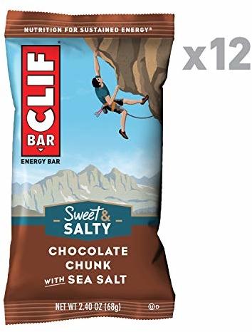 CLIF BAR - Sweet & Salty Energy Bars - Chocolate Chunk with Sea Salt - (2.4 Ounce Protein Bars, 12 Count)