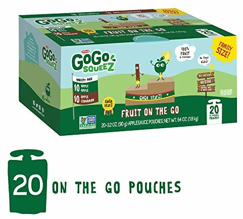 GoGo squeeZ Applesauce on the Go, Variety Pack (Apple Apple/Apple Cinnamon), 3.2 Ounce (20 Pouches), Gluten Free, Vegan Friendly, Healthy Snacks, Unsweetened, Recloseable, BPA Free Pouches