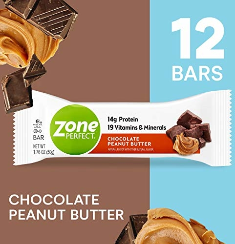ZonePerfect Nutrition Snack Bars, High Protein Energy Bars, Chocolate Peanut Butter, 1.76 Ounce Bar, 12 Count