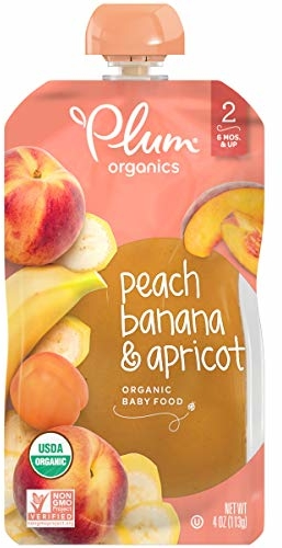 Plum Organics Stage 2, Organic Baby Food, Peach, Banana and Apricot, 4 ounce pouches (Pack of 12) (Packaging May Vary)