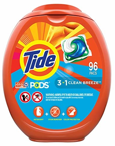 Tide PODS Laundry Detergent Liquid Pacs, Clean Breeze Scent, HE Compatible, 96 Count (Packaging May Vary)