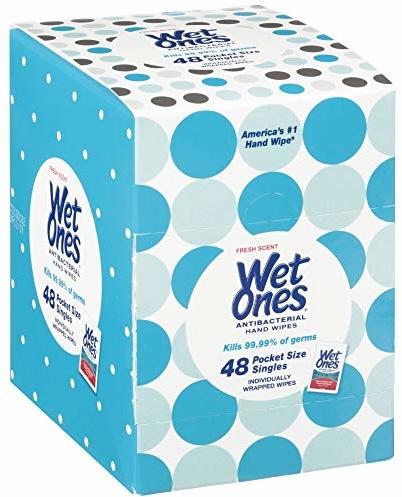 Wet Ones Antibacterial Hand Wipes Singles, Fresh Scent, 48Count