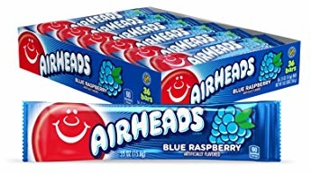 Airheads Candy, Individually Wrapped Bars, Blue Raspberry, Non Melting, Party, 0.55 Ounce (Pack of 36)