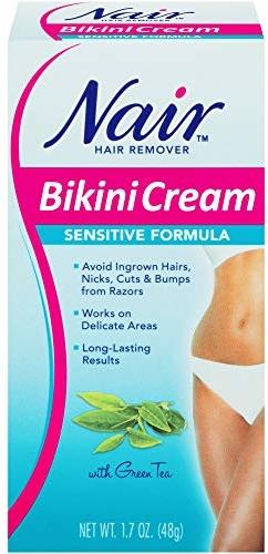 Sensitive Formula Bikini Cream with Green Tea Hair Remover by Nair, 1.7 Ounce