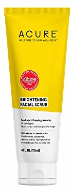 ACURE Brightening Facial Scrub |100% Vegan |For A Brighter Appearance, Sea Kelp & French Green Clay - Softens, Detoxifies and Cleanses, All Skin Types, 4 Fl Oz