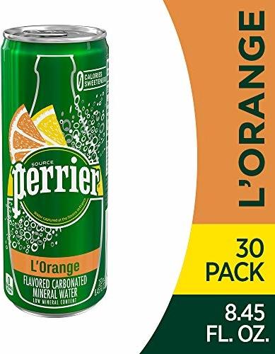 Perrier L'Orange Flavored Sparkling Mineral Water (Lemon Orange Flavor), 8.45 fl oz. Slim Cans (Pack of 30)