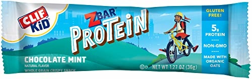 CLIF KID ZBAR - Protein Granola Bars - Chocolate Mint Flavor (1.27 Ounce Gluten Free Bars, Kids Snacks, 10 count)