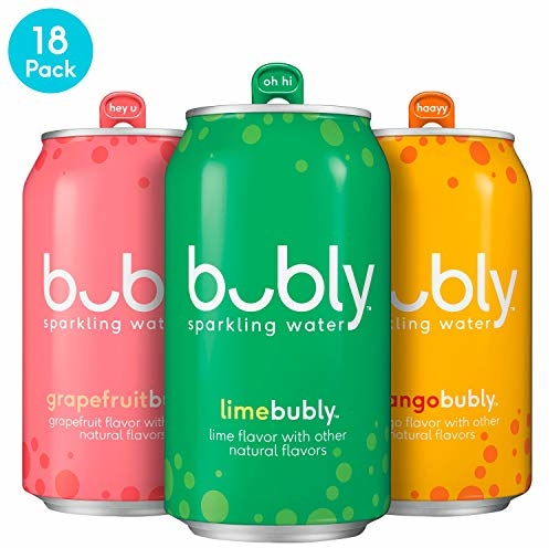 bubly Sparkling Water, Tropical Thrill Variety Pack, 12 Fluid Ounces cans, (18 Pack)