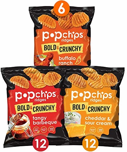 Popchips Ridges Potato Chips Variety Pack Single Serve 0.8 oz Bags (Pack of 30) 3 Flavors: 12 Tangy BBQ, 12 Cheddar & Sour Cream, 6 Buffalo Ranch