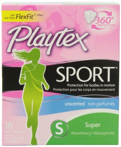 Playtex Sport Tampons with Flex-Fit Technology, Super, Unscented - 18 Count