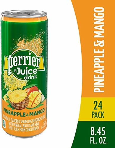 Perrier & Juice Drink, Pineapple & Mango Flavor, 8.45 Fl Oz. Cans (24 Pack)