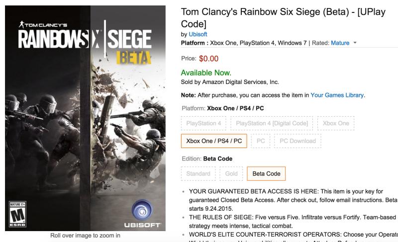 Expired: Tom Clancy's Rainbow Six Siege [Xbox/PC/PS4] Online